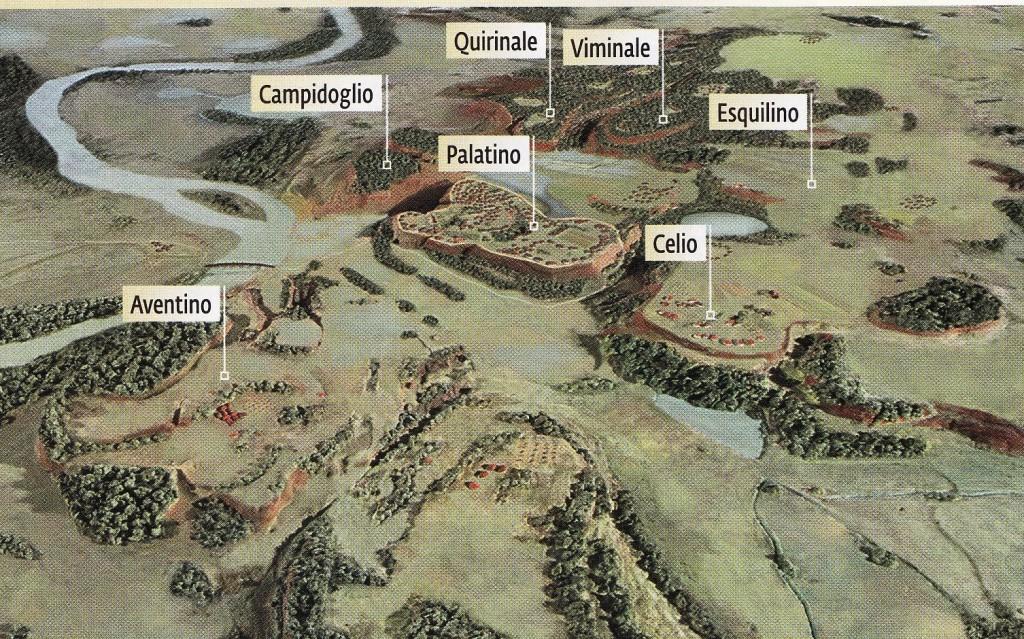 Die sieben Hügel von Rom.