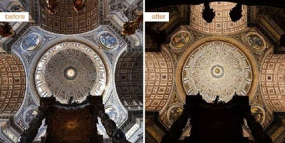 Petersdom – Kuppel mit und ohne LED-Beleuchtung