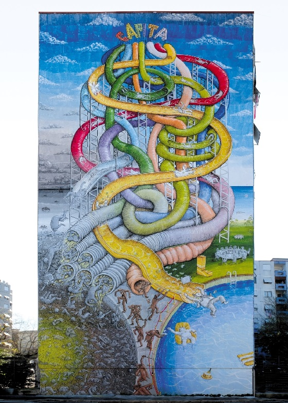 Street Art – das gesamte Wandbild von Blu
