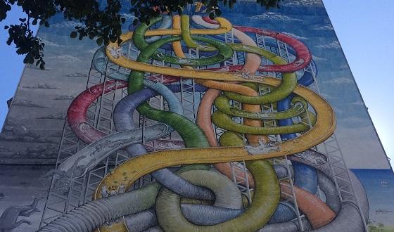 Street Art – oberer Bildausschnitt aus dem neusten Werk von Blu