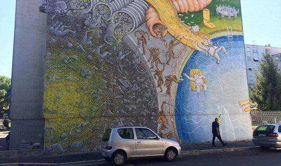 Street Art – unterer Bildausschnitt aus dem neusten Werk von Blu