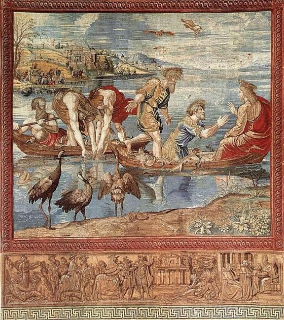 Wandteppich von Raffael – Der wunderbare Fischzug als Teppich