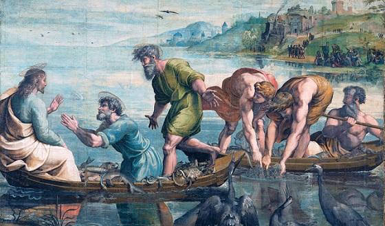 Wandteppich von Raffael – Der wunderbare Fischzug Kartonvorlage